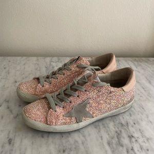 Golden Goose Superstar light pink glitter sneakers